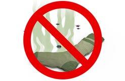Δύσοσμη κάλτσα στο απαγορευμένο σημάδι, τρισδιάστατη απεικόνιση Στοκ φωτογραφία με δικαίωμα ελεύθερης χρήσης