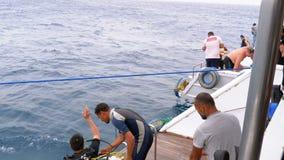 Δύτες σκαφάνδρων που παίρνουν έτοιμοι να πηδήσει από τη βάρκα στη Ερυθρά Θάλασσα φιλμ μικρού μήκους