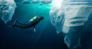 Δύτης που ο πάγος πακέτων στοκ φωτογραφία