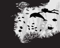 Δύτης στην κοραλλιογενή ύφαλο Διανυσματική απεικόνιση