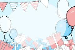 Πρόσκληση στο κόμμα Δώρα και μπαλόνια ελεύθερη απεικόνιση δικαιώματος