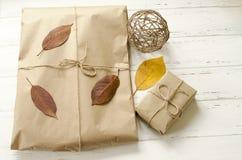 Δώρα που συσκευάζονται στο έγγραφο τεχνών και τα ξηρά φύλλα φθινοπώρου στοκ φωτογραφίες με δικαίωμα ελεύθερης χρήσης