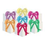 Δώρα στα κιβώτια με τις κορδέλλες Στοκ εικόνα με δικαίωμα ελεύθερης χρήσης
