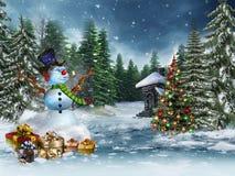 Δώρα χιονανθρώπων και Χριστουγέννων Στοκ Εικόνα