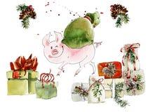 Δώρα χοίρων και Χριστουγέννων καθολικός Ιστός προτύπων σκίτσων σελίδων χαιρετισμού Χριστουγέννων καρτών ανασκόπησης η διακοσμητικ διανυσματική απεικόνιση