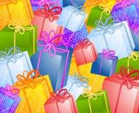 δώρα Χριστουγέννων ανασκόπησης Στοκ εικόνα με δικαίωμα ελεύθερης χρήσης