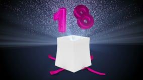 Δώρο γενεθλίων που εκρήγνυται με το κομφετί και το μπαλόνι δεκαοχτώ διανυσματική απεικόνιση