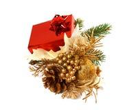 δώρο διακοσμήσεων Χριστουγέννων κιβωτίων Στοκ Εικόνα