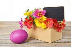 Δώρο Πάσχας: Λουλούδια Πάσχας και ρόδινο αυγό Πάσχας Στοκ εικόνα με δικαίωμα ελεύθερης χρήσης