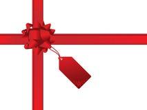 δώρο Χριστουγέννων καρτών τόξων Στοκ φωτογραφία με δικαίωμα ελεύθερης χρήσης
