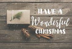 δώρο Χριστουγέννων με τους κώνους πεύκων στοκ φωτογραφία με δικαίωμα ελεύθερης χρήσης