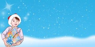δώρο Χριστουγέννων παιδιώ&n Στοκ Εικόνες