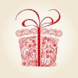 δώρο Χριστουγέννων doodle Στοκ Φωτογραφία