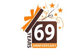 69 δώρων κιβωτίων έτη επετείου κορδελλών ελεύθερη απεικόνιση δικαιώματος