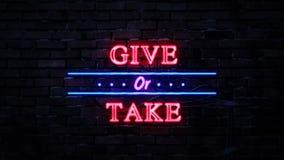 Δώστε ή πάρτε το σημάδι νέου ελεύθερη απεικόνιση δικαιώματος