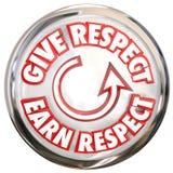 Δώστε για να κερδίσετε το άσπρο κουμπί λέξεων σεβασμού πώς να κερδίσει το σεβασμό Hon ελεύθερη απεικόνιση δικαιώματος