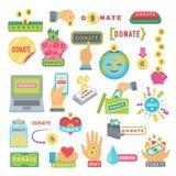 Δώστε τα κουμπιά καθορισμένα Δωρεά εικονιδίων βοήθειας Στοκ Φωτογραφία