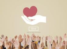 Δώστε την υποστήριξη βοήθειας προσοχής παρακαλώ δίνει την έννοια φιλανθρωπίας Στοκ εικόνα με δικαίωμα ελεύθερης χρήσης
