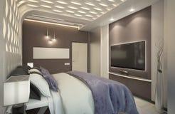 Δώστε της κρεβατοκάμαρας με το πορφυρό καρό Στοκ Εικόνα