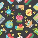 Δώστε το σχέδιο κουμπιών Δωρεά εικονιδίων βοήθειας Στοκ Εικόνες