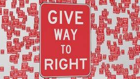 Δώστε τόπο στα σωστά σημάδια κυκλοφορίας που επιπλέουν στο διάστημα ελεύθερη απεικόνιση δικαιώματος