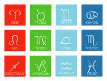 Δώδεκα zodiac σημάδια στο ζωηρόχρωμο υπόβαθρο επίσης corel σύρετε το διάνυσμα απεικόνισης ελεύθερη απεικόνιση δικαιώματος