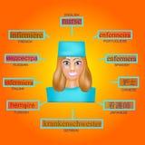 Είδωλο μιας γυναίκας στην επαγγελματική μορφή νοσοκόμας Εικόνα για την εκμάθηση της νοσοκόμας λέξης στα αγγλικά, γερμανικά, γαλλι Στοκ φωτογραφίες με δικαίωμα ελεύθερης χρήσης