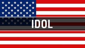 Είδωλο σε ένα υπόβαθρο ΑΜΕΡΙΚΑΝΙΚΩΝ σημαιών, τρισδιάστατη απόδοση Σημαία των Ηνωμένων Πολιτειών της Αμερικής που κυματίζει στον α ελεύθερη απεικόνιση δικαιώματος