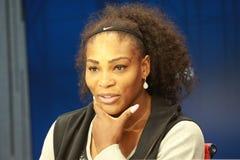 Είκοσι δύο φορές πρωτοπόρος του Grand Slam Serena Ουίλιαμς των Ηνωμένων Πολιτειών κατά τη διάρκεια της συνέντευξης τύπου κατά τη  Στοκ φωτογραφίες με δικαίωμα ελεύθερης χρήσης