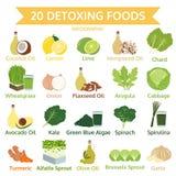 Είκοσι detoxing τρόφιμα, γραφικά επίπεδα τρόφιμα πληροφοριών, διάνυσμα Στοκ Εικόνες