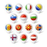 Δείκτες χαρτών με τις σημαίες. Ευρώπη. Στοκ Εικόνες
