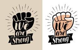 Είμαστε ισχυροί, εγγραφή Αυξημένη διανυσματική απεικόνιση πυγμών ελεύθερη απεικόνιση δικαιώματος