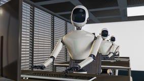 Είμαστε τα ρομπότ, ρομπότ που λειτουργούν σε ένα γραφείο Στοκ Εικόνες