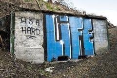 Είναι ένα σκληρό γκράφιτι ζωής στο συμπαγή τοίχο Στοκ Φωτογραφία