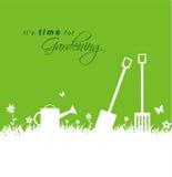 Είναι χρόνος για την κηπουρική Υπόβαθρο κηπουρικής άνοιξη με το φτυάρι, διανυσματική απεικόνιση