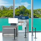 Είσοδος πυλών επιβίβασης με τη χλεύη επάνω στη TV LCD για τη διαφήμισή σας Στοκ Εικόνα