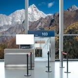 Είσοδος πυλών επιβίβασης με τη χλεύη επάνω στη TV LCD για τη διαφήμισή σας Στοκ φωτογραφίες με δικαίωμα ελεύθερης χρήσης