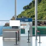 Είσοδος πυλών επιβίβασης με τη χλεύη επάνω στη TV LCD για τη διαφήμισή σας Στοκ εικόνα με δικαίωμα ελεύθερης χρήσης