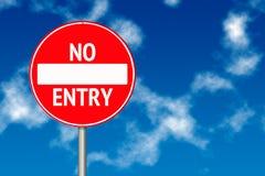 είσοδος χαρτονιών καμία κυκλοφορία σημαδιών Στοκ φωτογραφίες με δικαίωμα ελεύθερης χρήσης