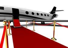Είσοδος αεροπλάνων κόκκινου χαλιού απεικόνιση αποθεμάτων