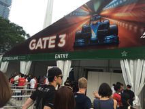 Είσοδος ασφάλειας Grand Prix F1 2015 της Σιγκαπούρης από τον κόλπο μαρινών, Σιγκαπούρη Στοκ Εικόνες