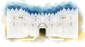 Είσοδος πυλών της Δαμασκού, παλαιά πόλη, Ιερουσαλήμ, Ισραήλ, χέρι που σύρεται ελεύθερη απεικόνιση δικαιώματος