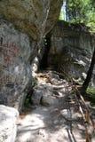 Είσοδος στη σπηλιά πάγου από την πόλη Borsec στοκ εικόνα