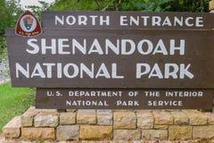 Είσοδος στο εθνικό πάρκο Shenandoah Στοκ εικόνα με δικαίωμα ελεύθερης χρήσης