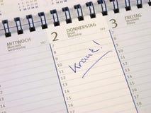 Είσοδος στο ημερολόγιο: Άρρωστος στοκ εικόνα με δικαίωμα ελεύθερης χρήσης