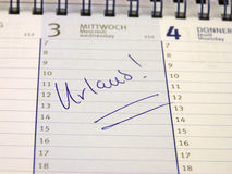 Είσοδος στο ημερολόγιο: Διακοπές Στοκ εικόνα με δικαίωμα ελεύθερης χρήσης