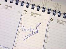 Είσοδος στο ημερολόγιο: Κόμμα Στοκ εικόνα με δικαίωμα ελεύθερης χρήσης