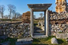 Είσοδος της βασιλικής στη archeological περιοχή αρχαίου Philippi, Ελλάδα Στοκ φωτογραφία με δικαίωμα ελεύθερης χρήσης