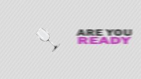 Είστε έτοιμοι για το κόμμα - ζωντανεψοντα έμβλημα με το γυαλί σαμπάνιας ελεύθερη απεικόνιση δικαιώματος