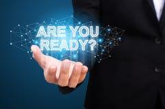 Είστε έτοιμοι στο χέρι της επιχείρησης Είστε έτοιμη έννοια στοκ φωτογραφίες